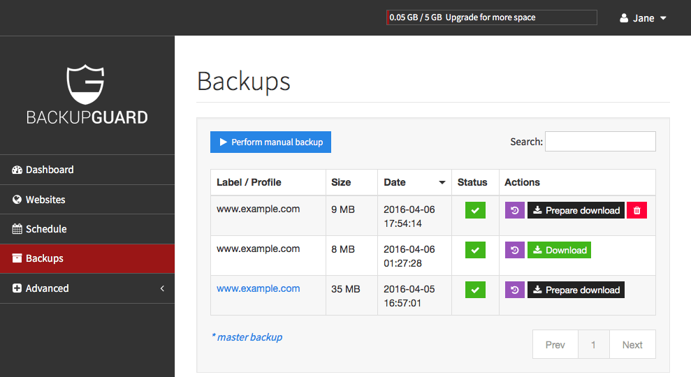 Perform Manual Backups