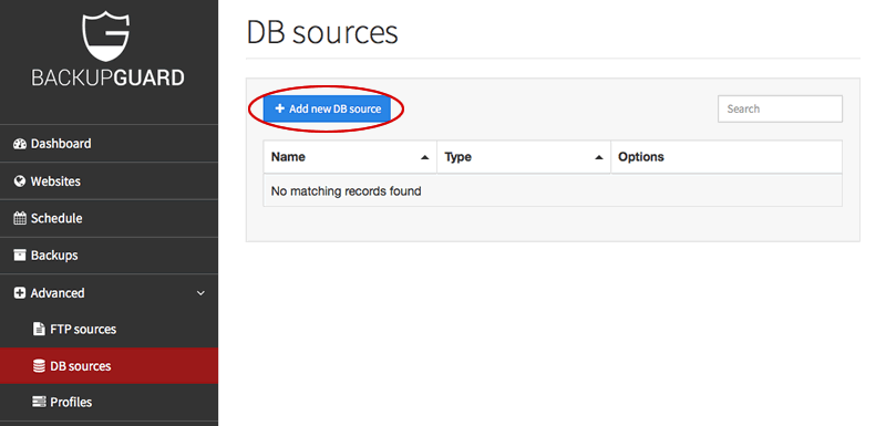 Add new database to backup