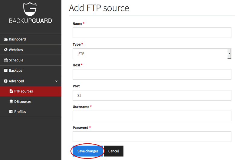 Create FTP source