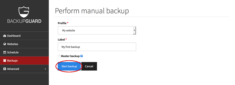 Start backup of website profile