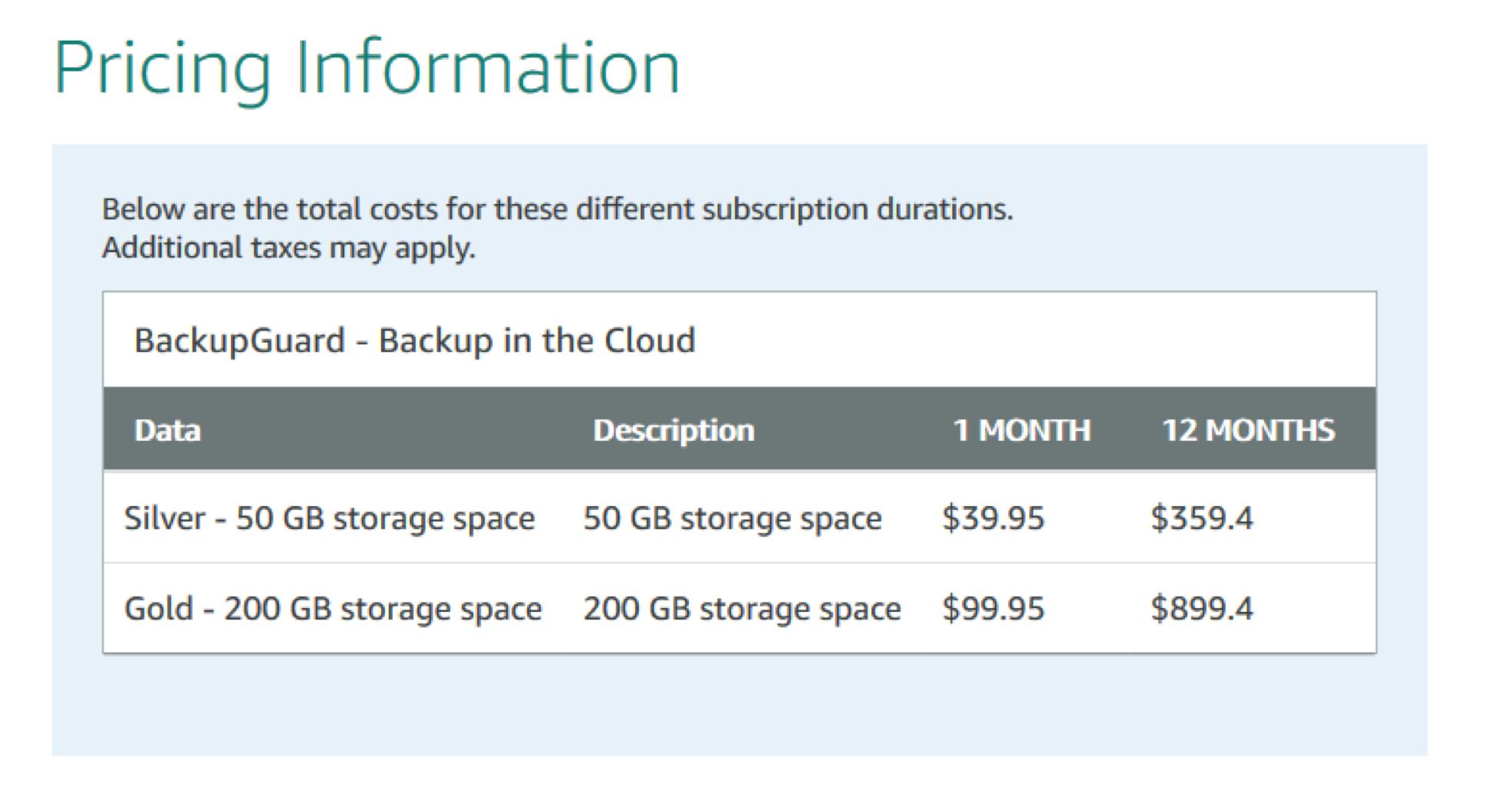 BackupGuard SaaS service AWS marketplace pricing information
